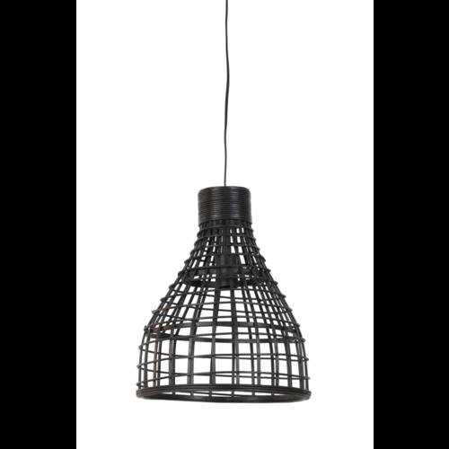 Hanglamp Lany zwart rotan in 2 maten