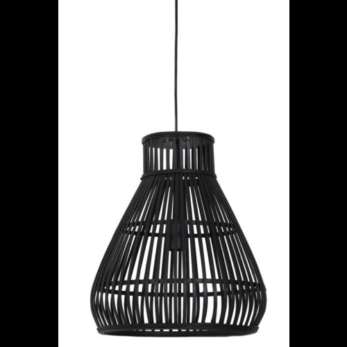 Hanglamp Lucinda zwart rotan in 2 maten