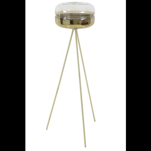 Vloerlamp Clarissa mat glas en goud
