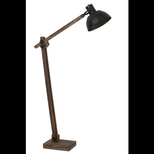 Vloerlamp Layan donker hout en zwarte kap