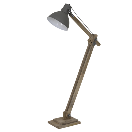Vloerlamp Larry naturel hout en cementgrijze kap