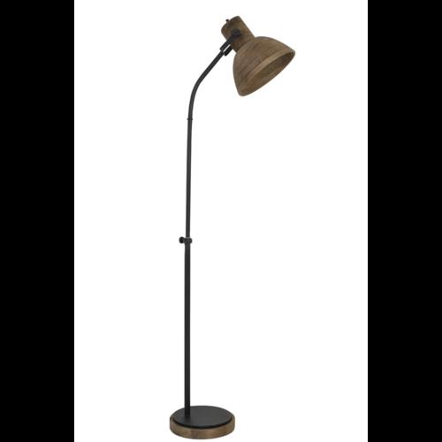 Vloerlamp Lesley donker hout en zwart metaal