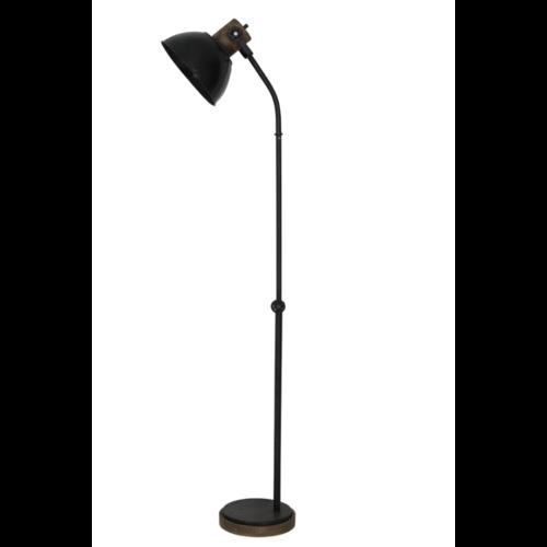 Vloerlamp Orli zwart zink en donker hout