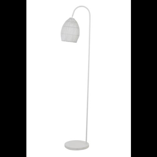 Vloerlamp Olivette mat wit metaal en goud