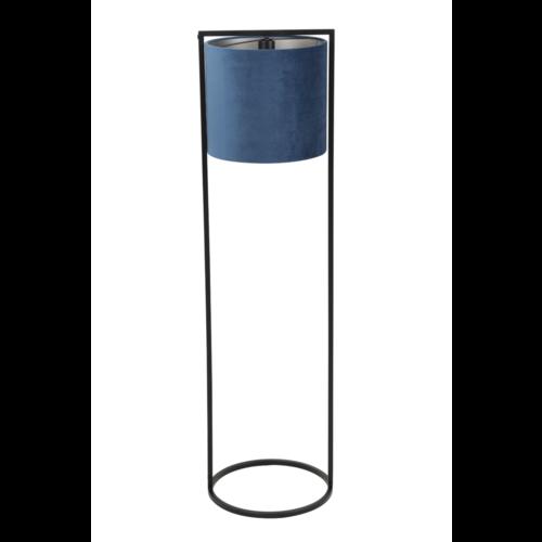 Vloerlamp Ogden mat zwart metaal en blauw velvet