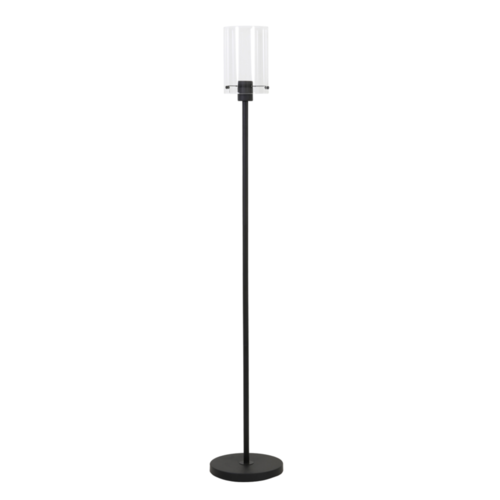 Vloerlamp Om mat zwart metaal en glas