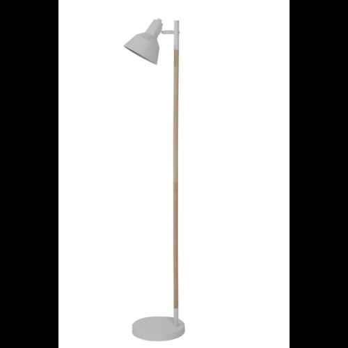 Vloerlamp Omid hout en wit metaal