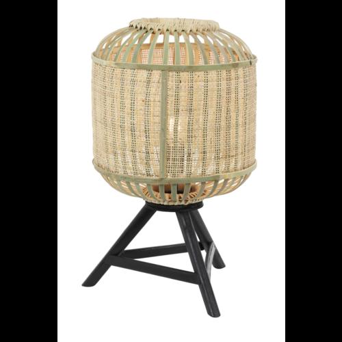 Tafellamp Lila driepoot Bamboe, Webbing en Hout