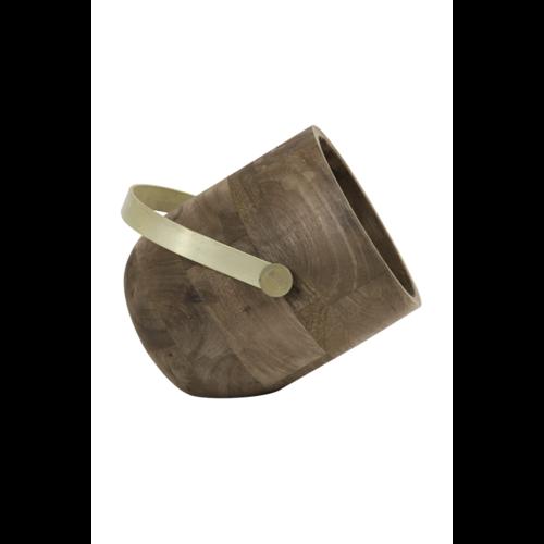Tafellamp Evy donker hout antiek brons