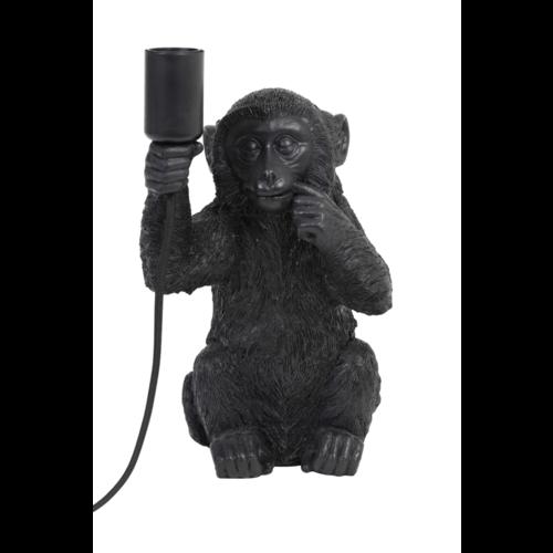 Tafellamp Coco aapje zwart in 2 maten + ledlamp cadeau