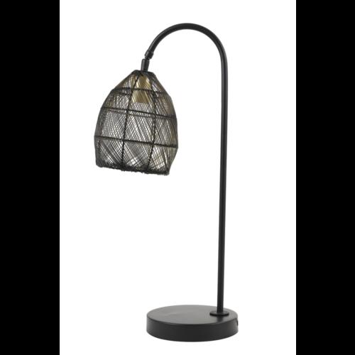 Tafellamp Olivette mat zwart en goud metaal