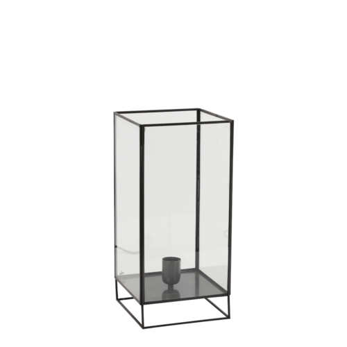 Tafellamp Emmaline mat zwart glas in 2 maten
