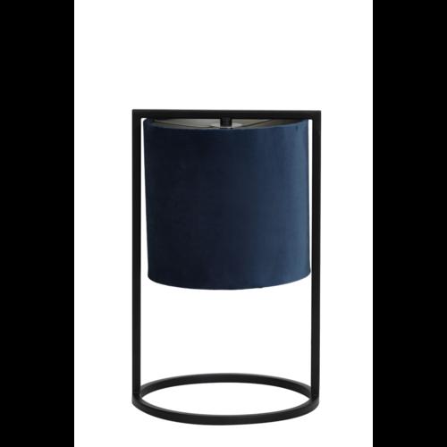 Tafellamp Ogden mat zwart metaal en blauwe kap in 2 maten