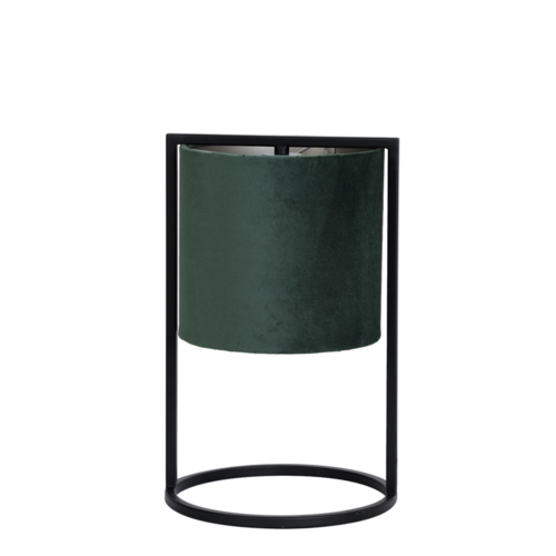 Tafellamp Ogden mat zwart metaal en groene kap in 2 maten