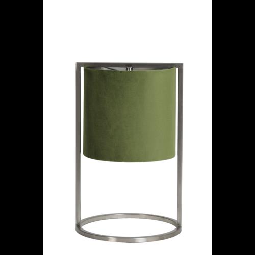 Tafellamp Ogden nikkel en groene kap in 2 maten