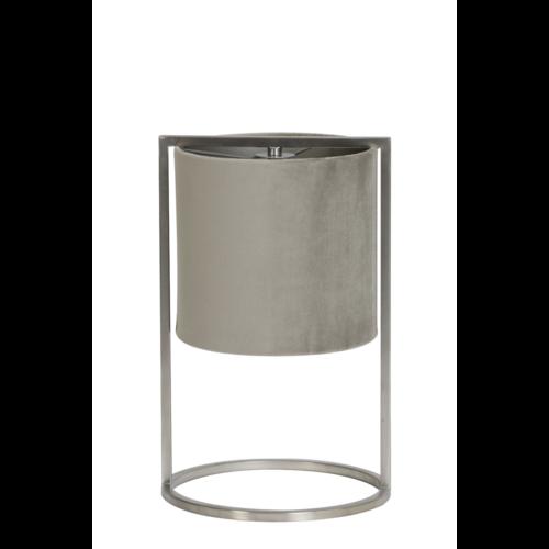 Tafellamp Ogden nikkel met Grijs/Taupe kap in 2 maten