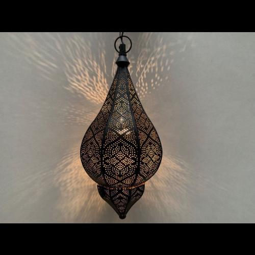Oriëntaalse hanglamp Farah filigrain zwart/goud in 2 maten