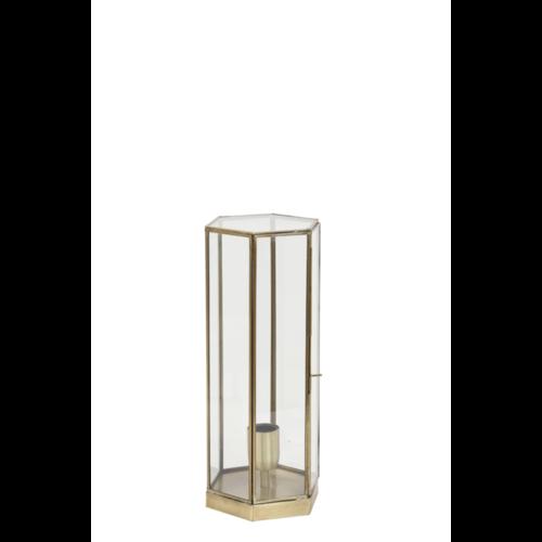 Tafellamp Eli glas en antiek brons