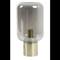 Tafellamp Ennio smoke glas en antiek brons