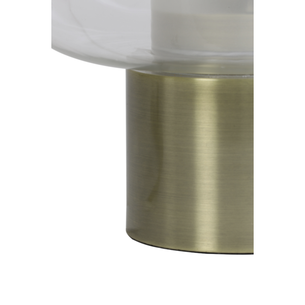 Tafellamp Ennio helder glas en antiek brons