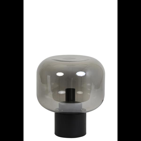 Tafellamp Ennio smoke glas en mat zwart