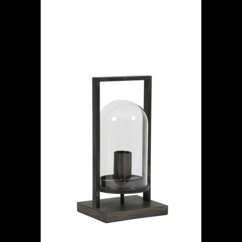 Tafellamp Endya antiek zwart en glas in 2 maten