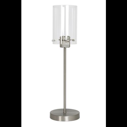 Tafellamp Om nikkel en satijn glas