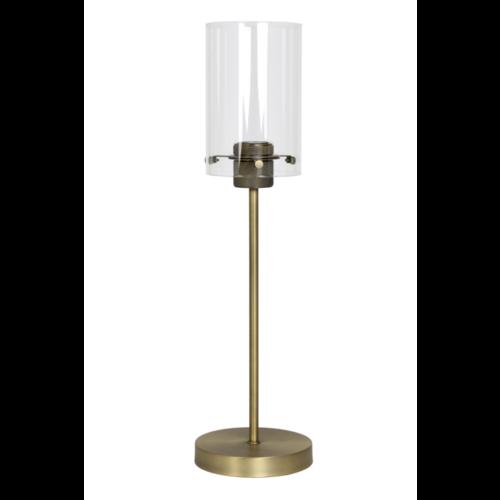 Tafellamp Om antiek brons en glas