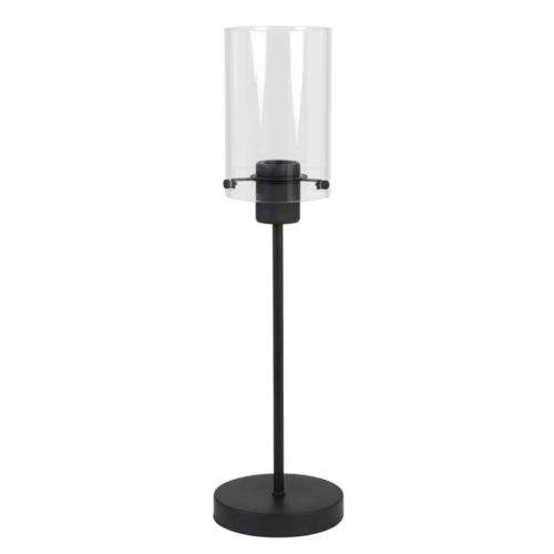 Tafellamp Om mat zwart en glas