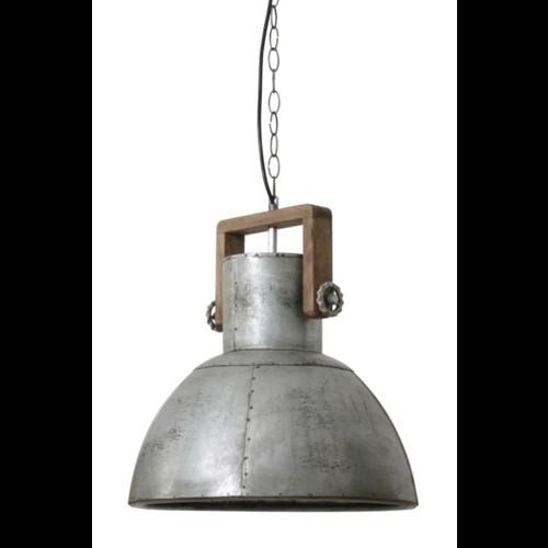 Hanglamp Fallyn hout en vintage zilver