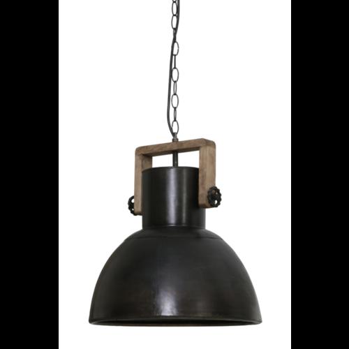 Hanglamp Fallyn hout en zwart metaal