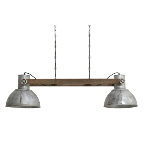 Hanglamp Fabiana hout en vintage zilver
