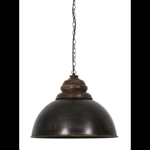Hanglamp Fia hout en zwart zink