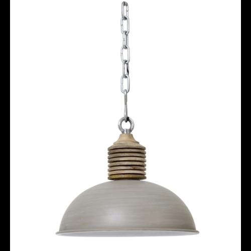 Hanglamp Faustina betongrijs metaal en hout in 2 maten