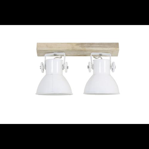 Hanglamp Fionna naturel hout en wit in 2 maten