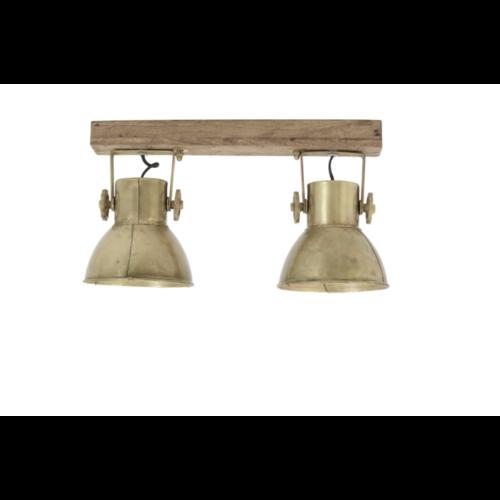 Hanglamp Fionna donker hout en brons in 2 maten