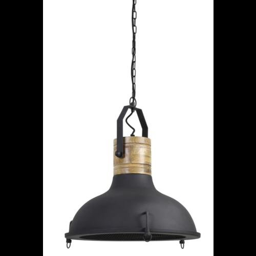 Hanglamp Grace hout en zwart metaal