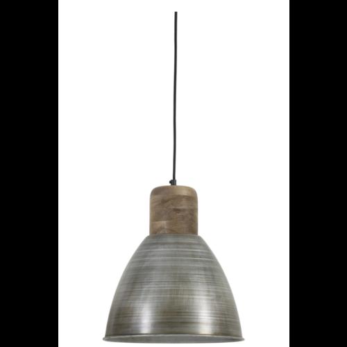 Hanglamp Giana antiek zilver en hout