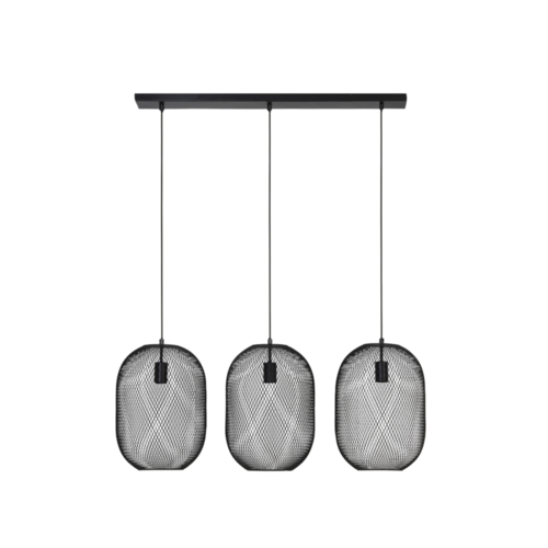 Hanglamp Gene mat zwart metaal 3L