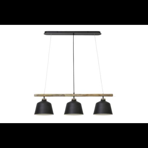 Hanglamp Odalis mat zwart en hout in 2 maten