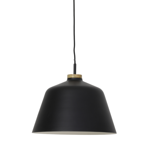 Hanglamp Odalis mat zwart en hout enkel