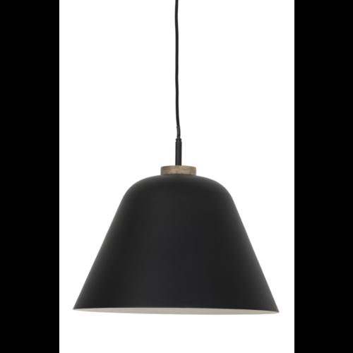 Hanglamp Odalia mat zwart en hout