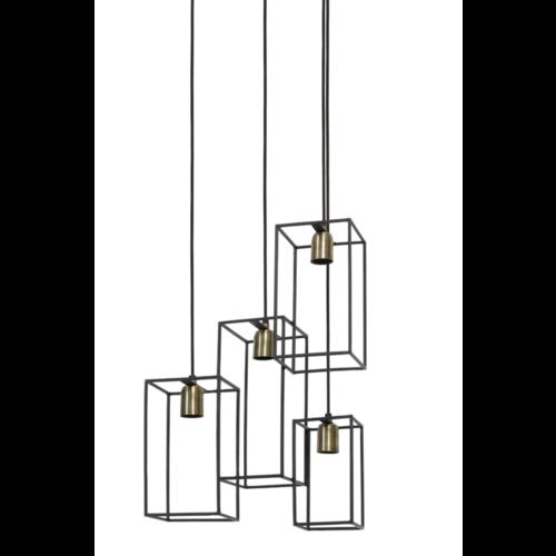 Hanglamp Edna zwart en brons in 3 maten