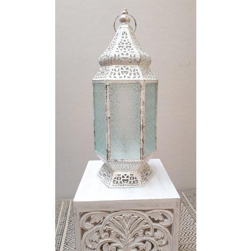 Marokkaanse tafellamp Ania wit/zilver/goud