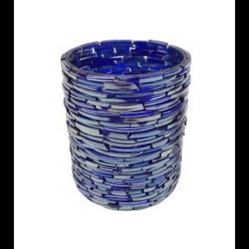 Waxinehouder Smokey Blue cylinder in 2 maten