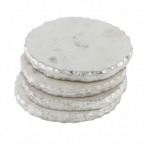 Onderzetters Marmer zilver - set van 4