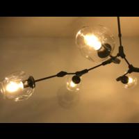 Hanglamp Graham 7L Zand Nikkel Frame - 3 glas keuzes