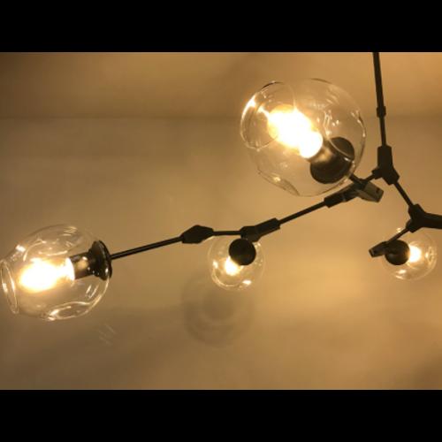 Hanglamp Graham 5L Zwart Frame - 3 glas keuzes