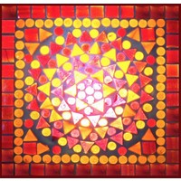 Tafellamp bol groot rood/oranje mozaiek