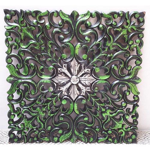 Wandpaneel zwart/groen/zilver 60x60cm